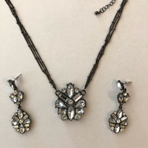 Necklace Faceted Faux Stones Thin Layered Chain